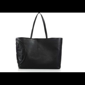 Tory Burch Black Leather All T Tote Bag